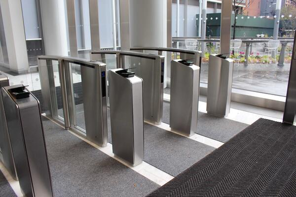 Boon Edam Optical Turnstiles with Integrated Pedestals and Fingerprint Technology