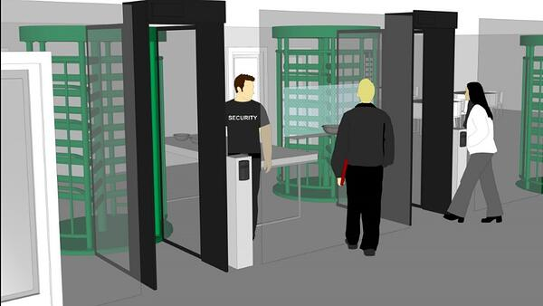 Security full height turnstiles secure distribution centers from theft