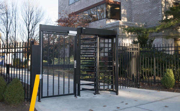 Full Height Turnstile at Building Perimeter