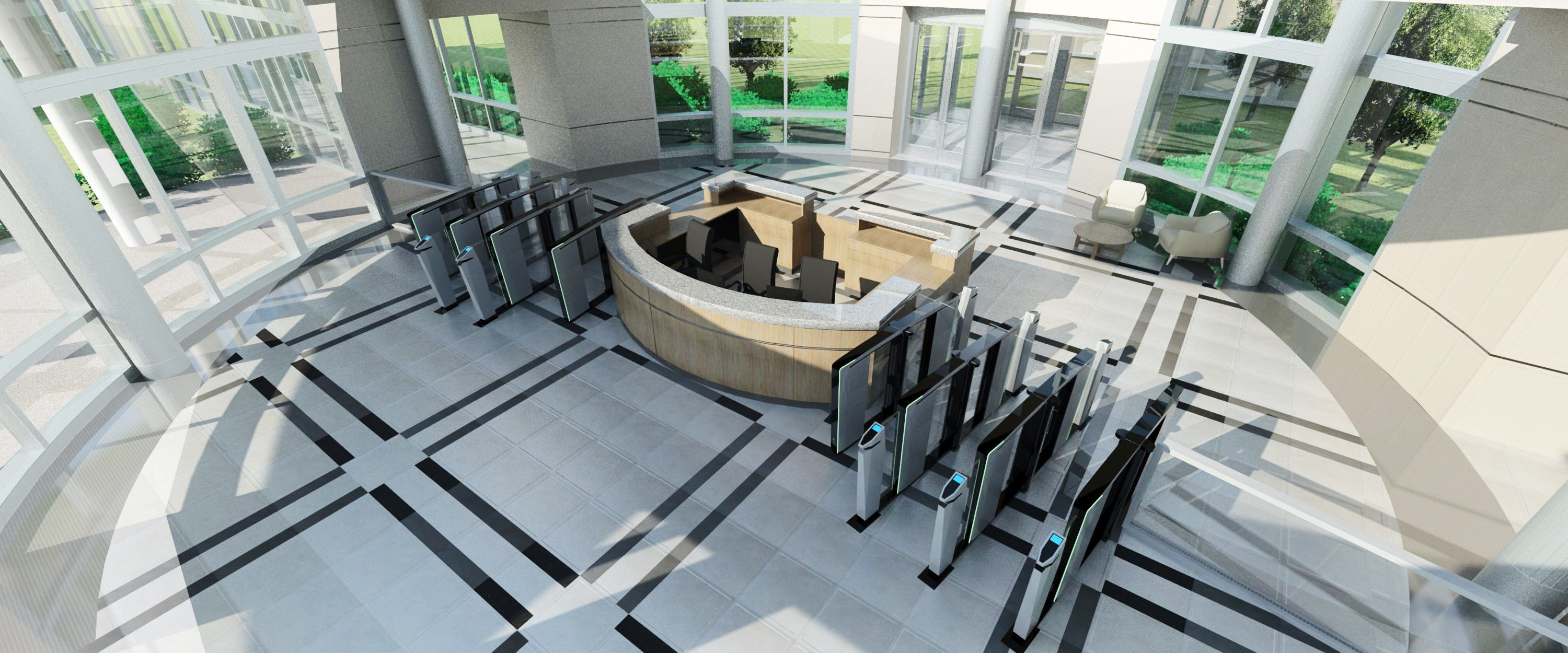Physical security: optical turnstiles in lobby