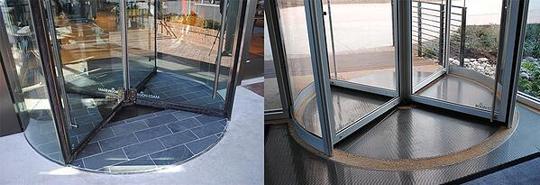 When installing a revolving door, make sure the floor is completely level and that the material will not damage