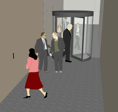 Access control system placement in hallway