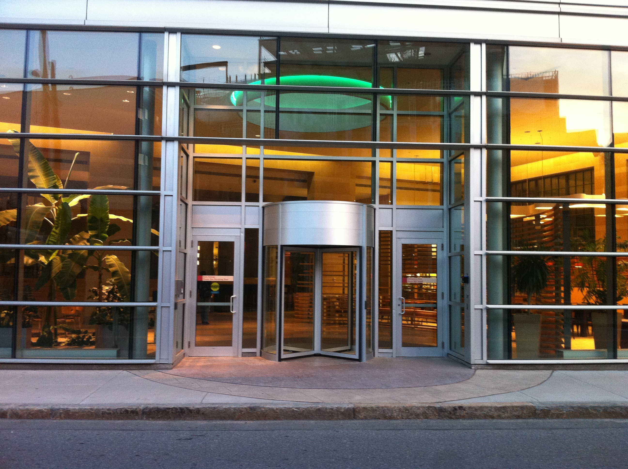 Revolving doors require there be a swinging or sliding door within 10 feet on the same building plane