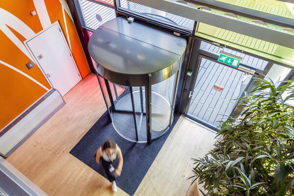 Revolving doors can save a company on their energy bills