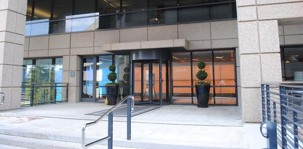 Tourlock security revolving door on building perimeter